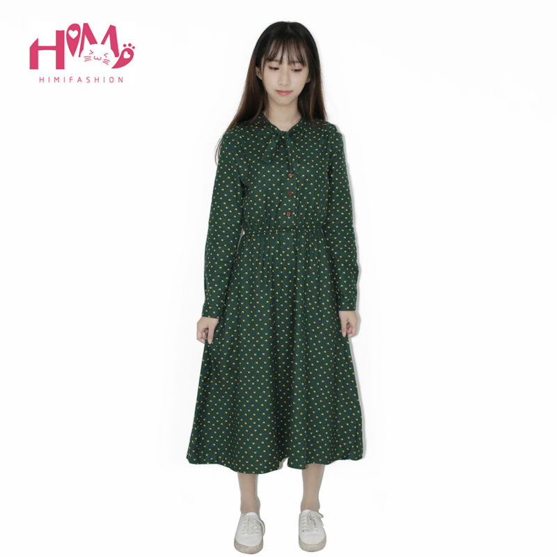 Cute Green Floral Dress Vintage Ladies Dresses Bohemian Style Autumn Winter Long Sleeves All Match New Fashion Long Sleeve Dress 2