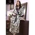 Seda Natural 100% Floral Boho Mulheres Negras Vestes Robe MM95659-Mia Mia