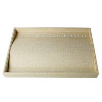 Doreen Box Burlap Clad Plate Jewelry Necklace Bracelet Bangle Display Tray Rectangle Natural 35cm x 24cm,1 PC 2017 new