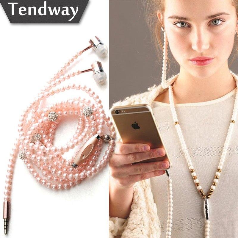 Pink girl rhinestone joyería de perlas collar de auriculares con micrófono de 3.