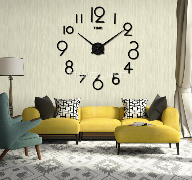 2017 promotion wall clock modern home decor diy large for 3d acrylic mirror wall sticker clock decoration decor