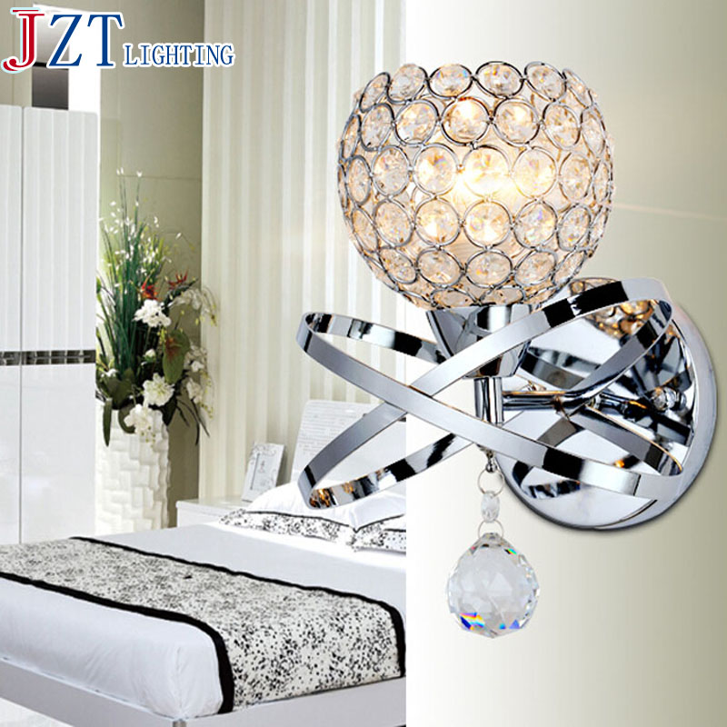 M Modern Style Bedside Wall Lamp Bedroom Stair Lamp Crystal Wall Lights E14 LED Wall Lights Led Lamp For Bedroom Decor modern style bedside wall lamp bedroom stair lighting crystal wall lights e27 led bulb silver gold led lamp for bedroom decor