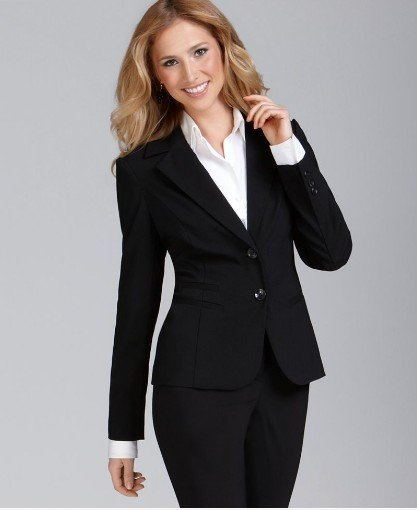 For women with curvier builds, you can't go wrong with a classic fit suit set, but avoid a pleated skirt that adds more bulk to your body. Skirt suits are typically preferable for more conservative environments.