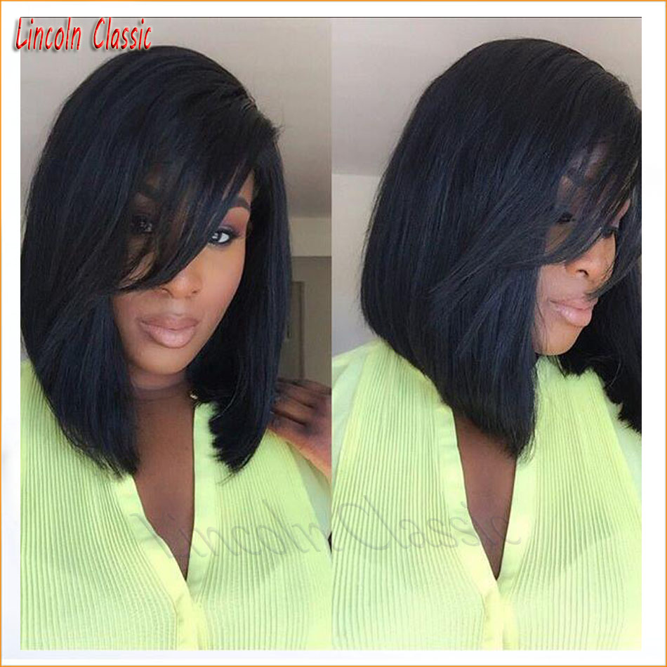 New 7a Straight Wig With Side Bangs Glueless Lace Front Bob Wigs Human font b Hair