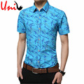 2016 Summer New Arrival Men Shirts Male Short Sleeve Printed Cotton Casual Shirt Slim Fit Turn-Down Collar Chemise Homme YN468