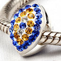 Eye With Blue Crystal 100% 925 Sterling Silver Charm Beads Fits Pandora European Charms Bracelet S