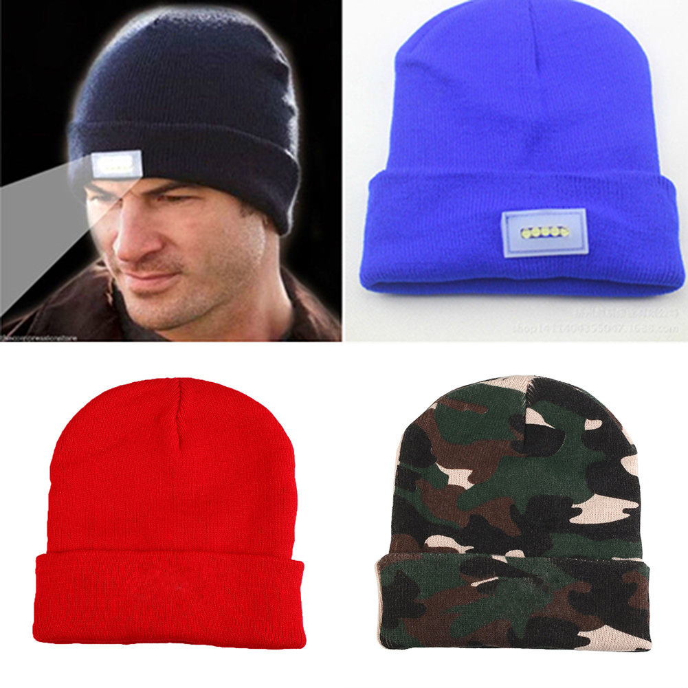LED Lighted Cap Winter Warm Beanie Angling Hunting Camping Running Knitted Hat женские кеды adv nce outlets 2015 usb zapatos led lighted shoes