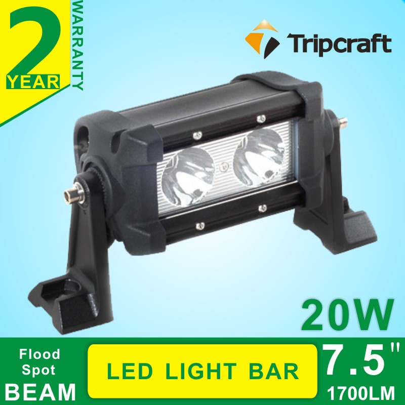 High Power Offroad Ramp 20w led light bar single row for Truck SUV Jeeps