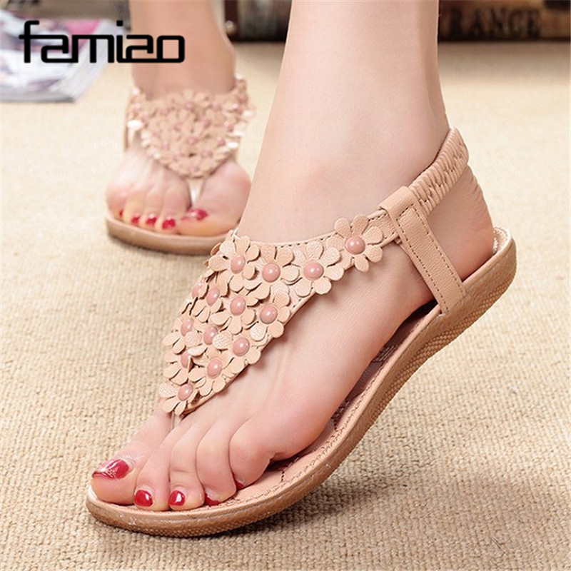 Shoes Woman Sandals 2017 Zapatos Mujer Ladies Shoes  Summer  Beach Sandalias Mujer Flat With Flower Sweet  Elegant Elastic Band womans sandals hollow ladies sandals sandalias de mujer womens flat sandals summer 2016 zapatos mujer verano shoes woman