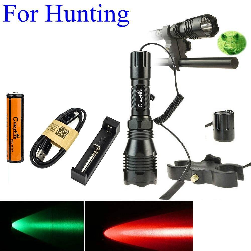 1000LM LED Tactical Flashlight Long Range Red Green White Hunting Light Lantern With 25mm Diameter Gun Mount +  Pressure Switch