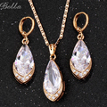 Fashion Austria Crystal Water drop leaves Earrings necklace jewelry sets Classic Wedding Dress Women's Gift Wholesale(JS0060)