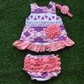Nova chegada meninas boutique de roupas jogos do balanço menina infantil roupas de bebê rosa roxo asteca balanço tops com acessórios