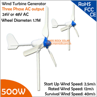 1.7m Wheel Diameter 3 Blades Three Phase 500W 24V or 48V Wind Turbine Generator for Wind Solar Hybrid System