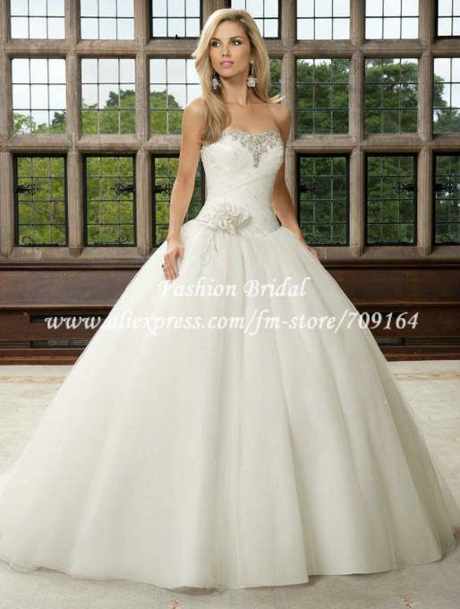 Sweetheart Puffy Princess Style Ball Gown Bridal Wedding Dress Off The Shoulder Hand Flower Tulle Satin BM159