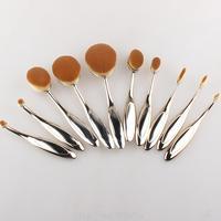 10 PCs Toothbrush Shape Makeup Brush Set Oval Makeup Brushes Bendable Foundation Eyeline Blusher Contour Powder
