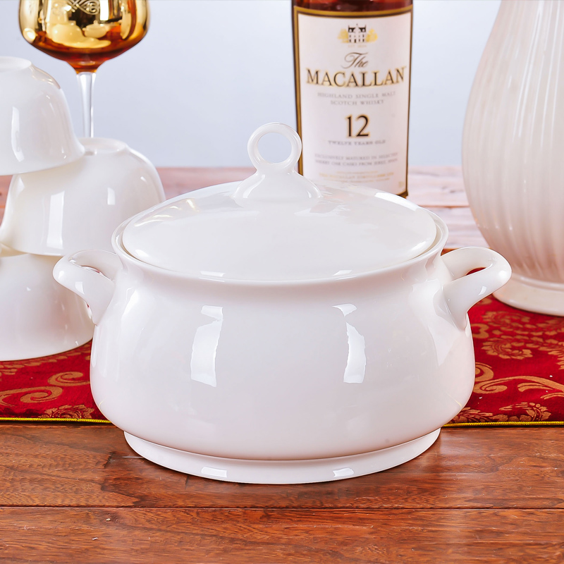 9 Inch Pure White Bone China Pote Potes Ceramic Tureen