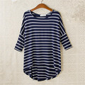 2016 New Fashion Loose T-shirt Large Size O-neck 3/4 Sleeve tShirt Women Stripped Top 70830