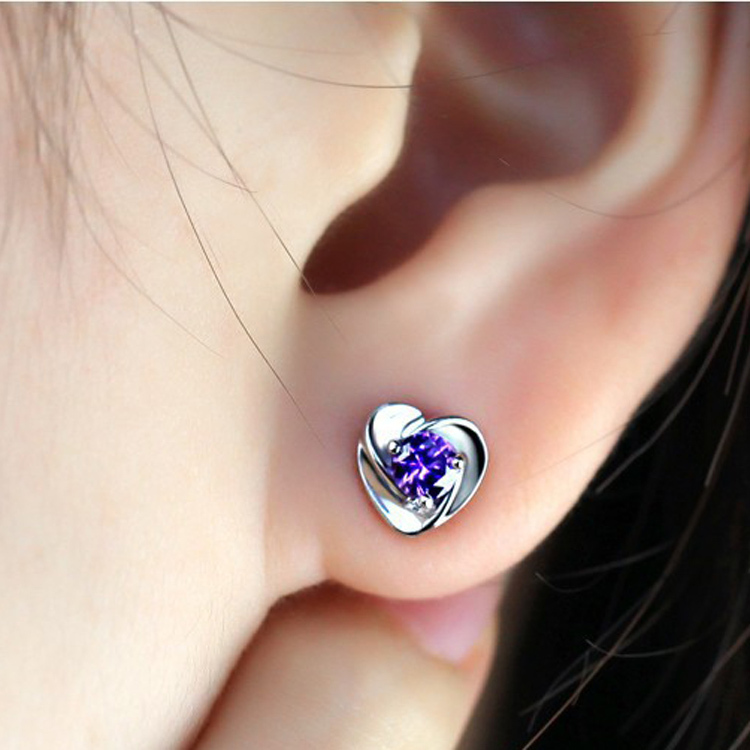 New 1 Pair Chic Heart Shaped Purple Ear Stud Earrings Rhinestone Women S Fashion Jewelry Gift 0337 In From Accessories On