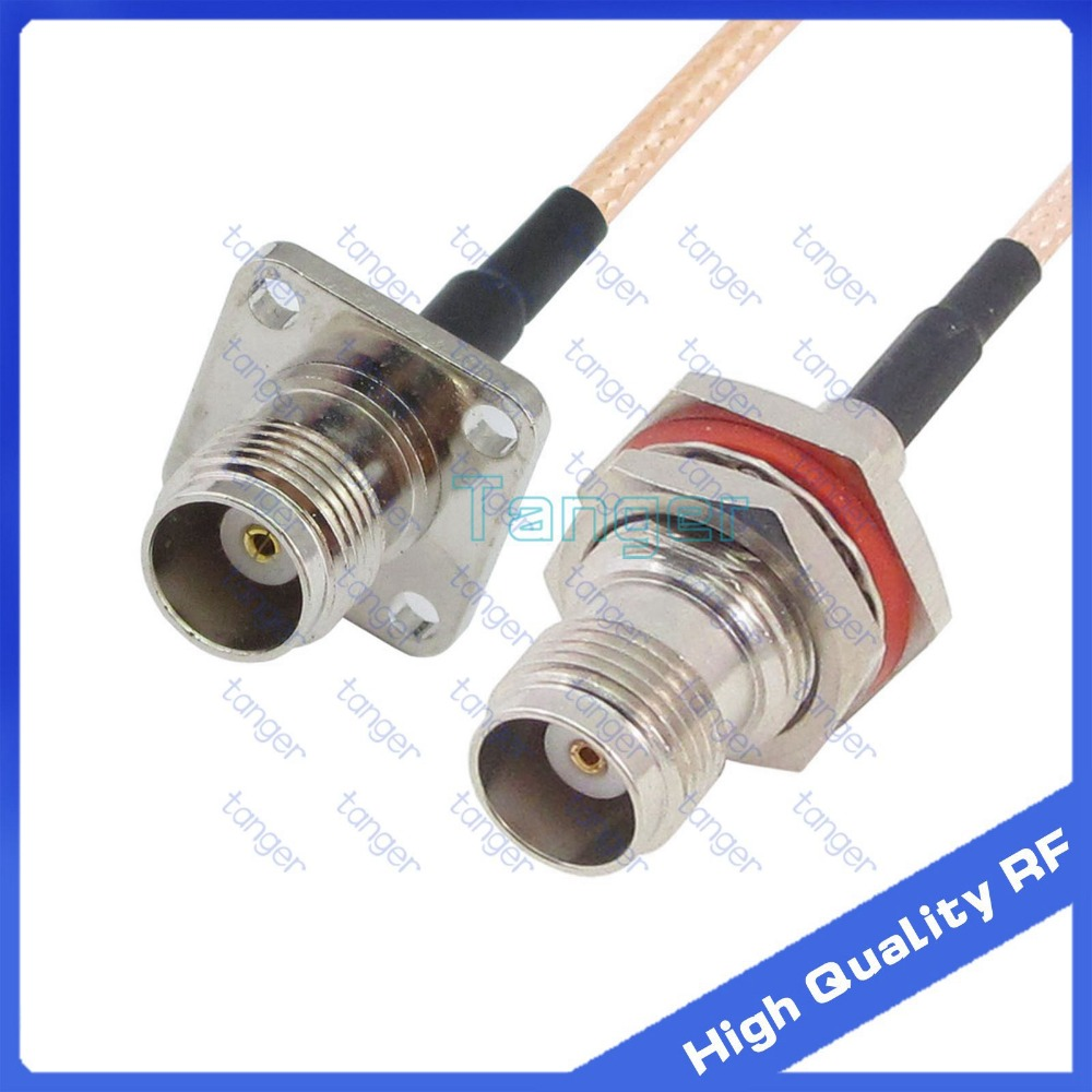 """TNC female 4hole panel to TNC female jack with RG 316 RF Coaxial Pigtail Jumper cable 6"""" 15cm Tanger High Quality RF cables