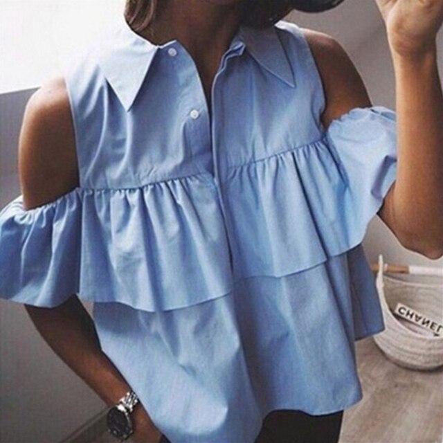 2016 כתף הקיץ סקסי כבוי ראפלס נשים החולצה קצר צווארון פונה למטה חולצות יבול גבירותיי חולצות Blusas Femininas הכחול ולבן