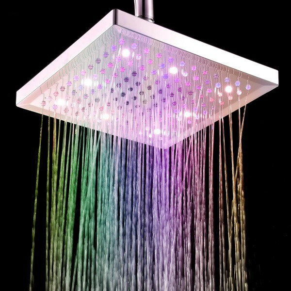 Free Shipping  8 inch Square 7 Colors Changing LED Shower Head Sprinkler