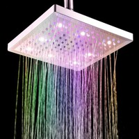 Free Shipping 8 inch Square 7 Colors Changing LED Shower Head Sprinkler Changeable Color Shower Head Wholesale
