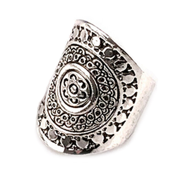 1 PCS 2018 New Retro silver simmias ring wide version of the foreign trade index finger retro carved geometric totem ring