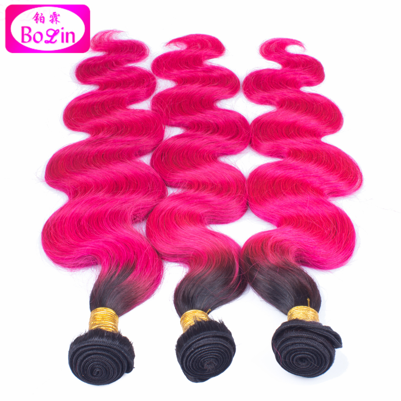 8a Ombre Color 1bhot Pink Hair Weaving Body Wave 8a High Quality