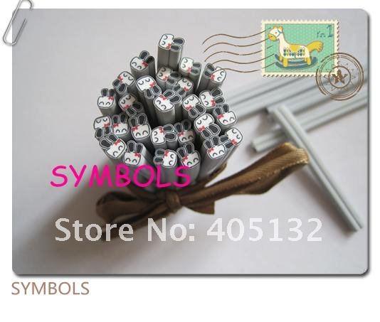 E-25 100 шт 5 мм милый белый кролик Полимерная глина трость Необычные дизайн ногтей Полимерная глина трость