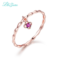 I Zuan 14K Gold Natural 0 021ct Stone Flower Prong Setting Trendy Simple Ring Jewelry For