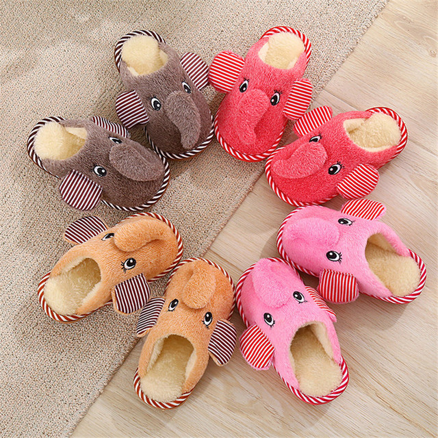 2016 Children's Slippers Cartoon Animals Elephant Slippers Indoor Home Shoes Warm Winter Baby Shoes Plush Kids Boys Slippers