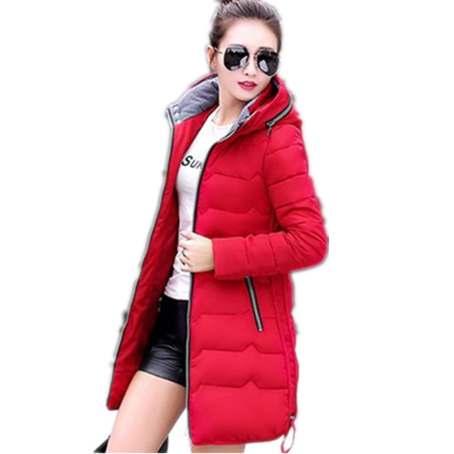2017 Women Winter Jackets Pockets Zippers Slim Hooded Down Cotton Jacket Women Winter Coat Top Warm Parkas XL-6XL 8 Color CM491
