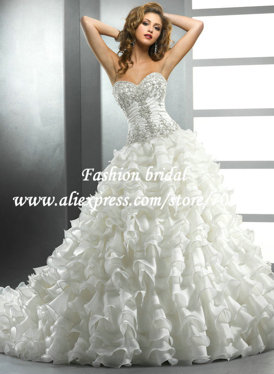 High Low Ball Gown Corset Top Wedding Dress Sweetheart Appliques and ...
