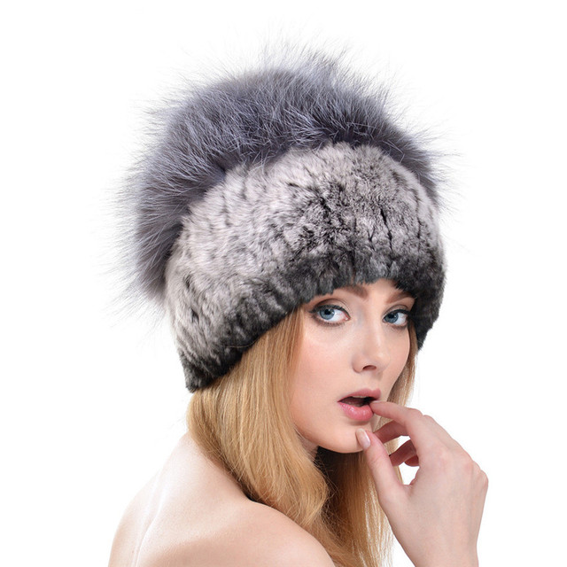 Warm Thick  Ear Cap 2016 New Winter and Autumn Women Knit Hat Rabbit Fur with Silver Fox Fur Pom Poms Top Outdoors Caps LH334
