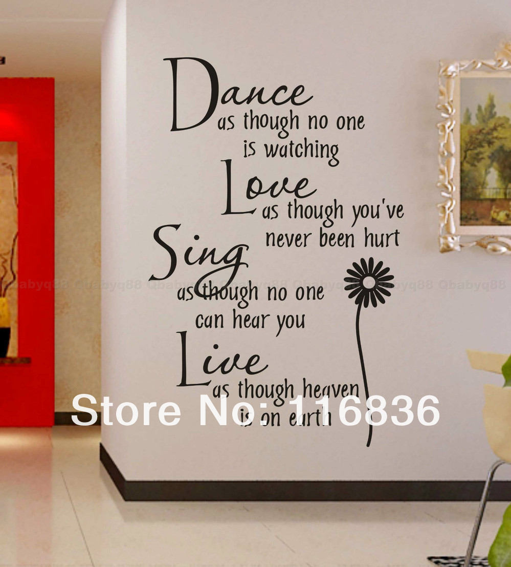 Beautiful Free Shipping:Large Size 30*160cm Mural Decal Art Live Love Laugh English  Quote Vinyl Wall Decals Home Decor Sticker Part 24