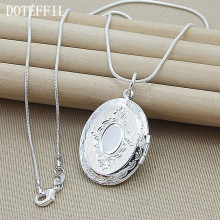 2019 Christmas Gift Pattern Photo Frame Necklace Snake Chain 925 Silver Color Necklace Pendant For Women Men Chain Jewel Gifts(China)