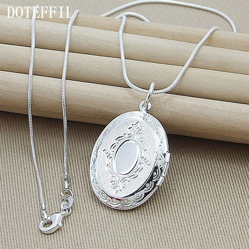 2017 Christmas Gift Pattern Photo Frame Necklace Snake Chian 925 Sterling Silver Necklace Pendant For Women Men Chain Jewel ...