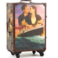 KUNDUI 20 24inch suitcase HardShell PU leather Wood 4 Wheels Travel Trolley Painting Cabin Luggage Retro board chassis lockbox