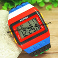 300pcs/lot,Hot Sale Rainbow Unisex Fashion Wrist Watches Coloful Stripe Digital LED Light Watch Modular Electronic Sport Watches