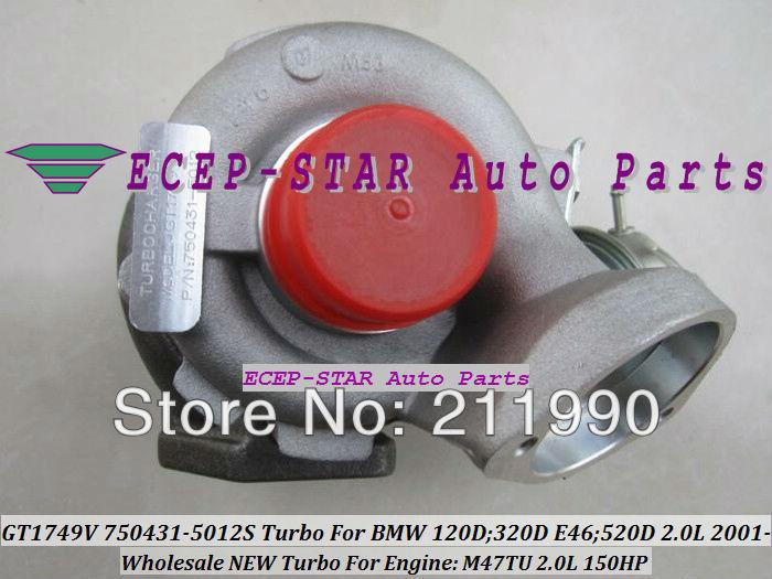 GT1749V 750431-5012S 750431-5009S 750431 Turbo Turbine Turbocharger For BMW 120D 320D E46 520D 2.0L 2001- M47TU 150HP
