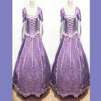 High Quality Rapunzel Tangled Princess Tangled Embroidered Costume Cosplay Costume Adults Rapunzel Purple Dress Party Costume