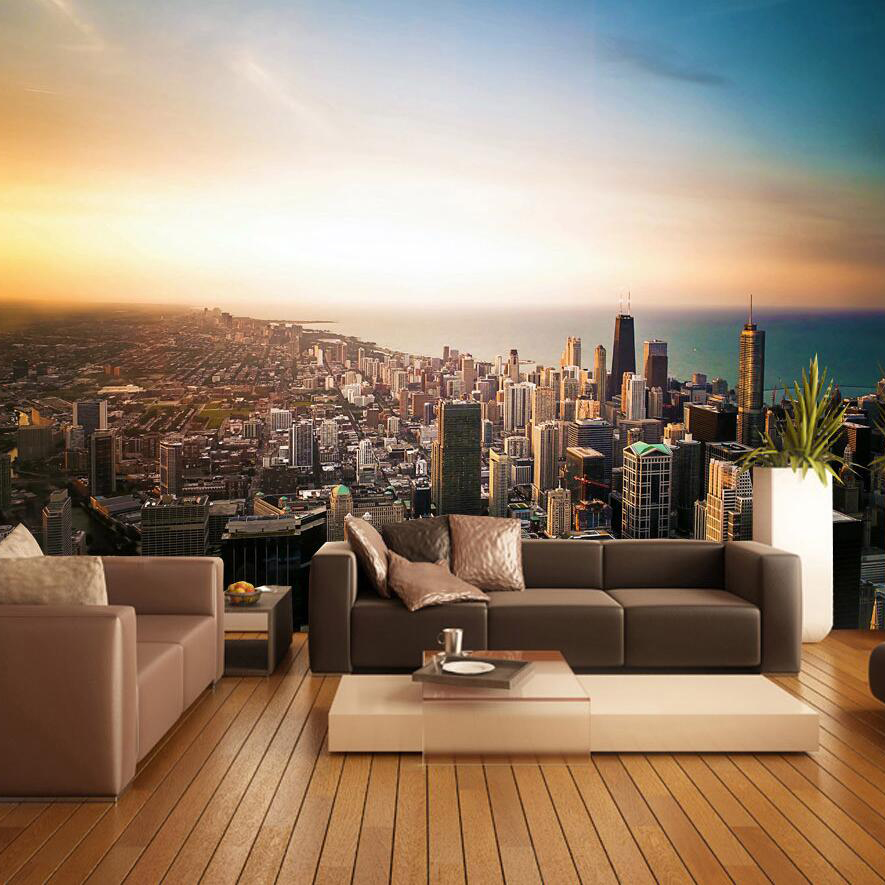 background office walls living hotel wall tv 3d covering silk custom chicago mural zoom wallpapers