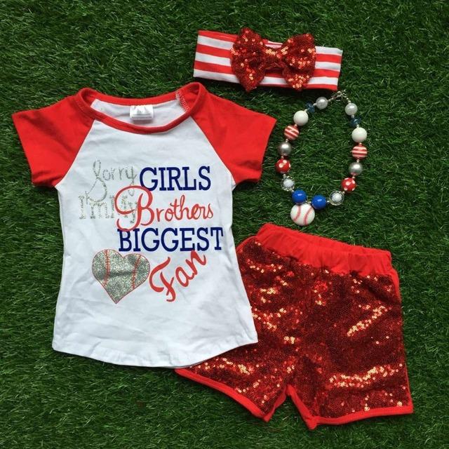 Niños temporada de béisbol ropa niñas hermano mayor ventilador de vestir girls outfits niñas con collar a juego y diadema