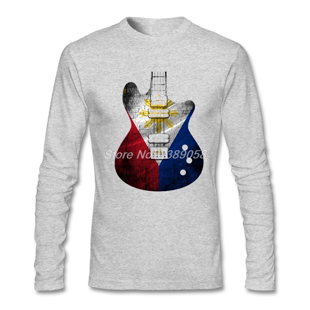2017 Mens t-shirt Guitar Flag Philippines Brand Clothing New Tee Tops Round Neck Long Sleeve Organic Cotton Cheap Man T-Shirt - intl