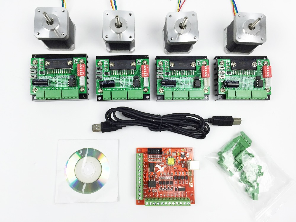 Cnc mach3 usb 4 axis kit 4pcs tb6560 driver mach3 usb 4 axis stepper motor controller