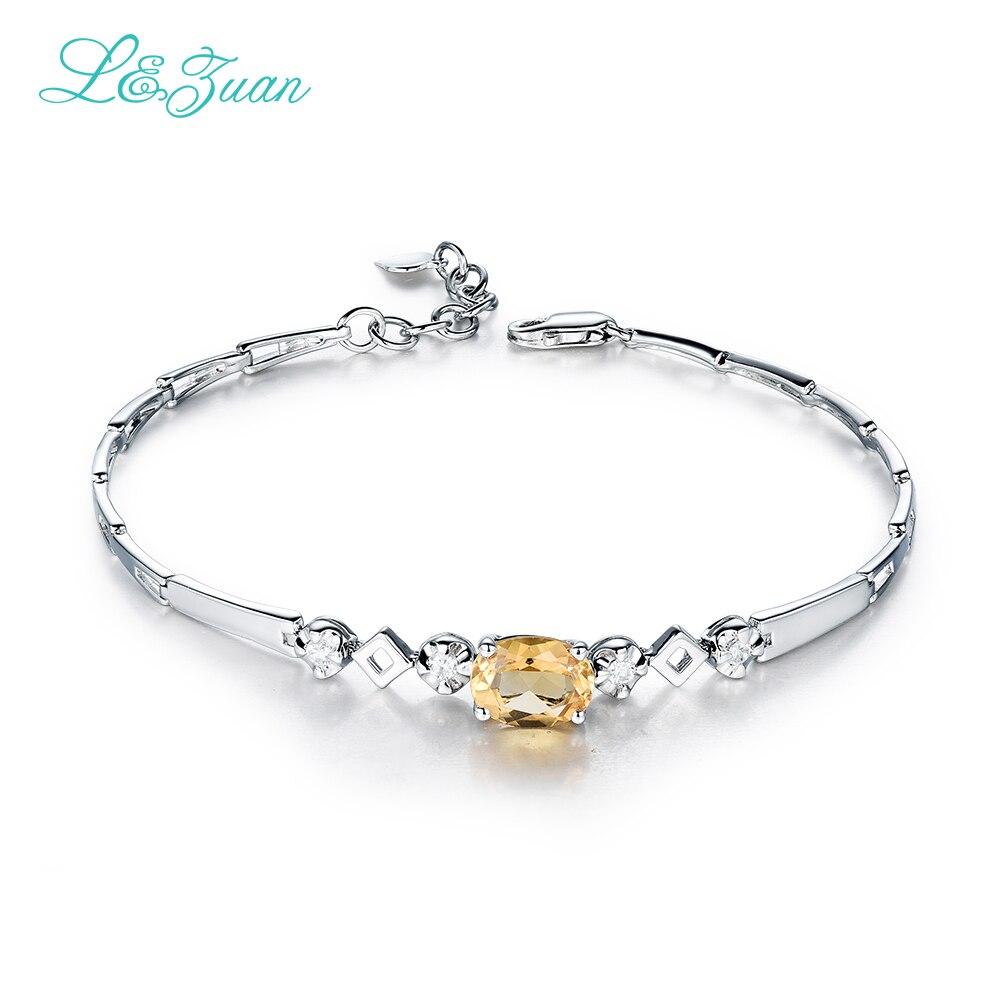 I zuan Sterling Silver Jewelry Bracelet For Women Yellow Crystal 925 Sterling Silver Bracelets Chic Fine