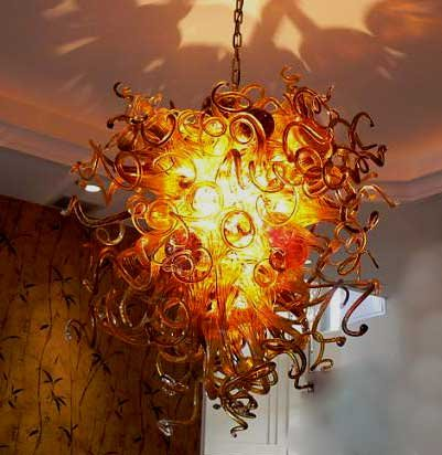 led lighting hand blown stained glass cystal chandelier lighting in