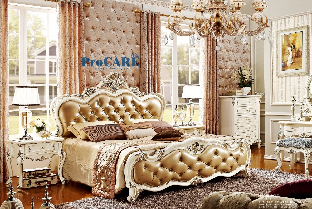 2016 New Arrival New 3 Pieces European Style Bedroom Furniture Sets Royal  Furniture Included Bed + Nightstand + 5 Drawers Images