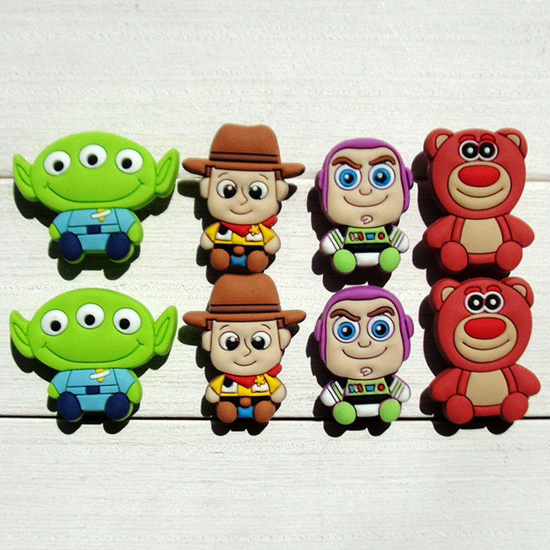Hot sale cute charms 8pcs Toy Story shoe decoration/shoe charms/shoe accessories for wristbands bracelets kids gift free shipping 8pcs lot mickey shoe decoration shoe charms shoe accessories for wristbands kids school gifts