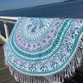 Ronda de verano toalla de playa de estilo bohemio roundie hippie mandala tapiz playa tiro borla bohemia toalla sofá cojín estera de yoga